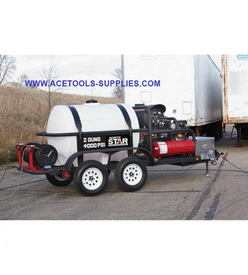 Water Pressure Washer Trailer with 2 Wands - 4,000 PSI, 7.0 GPM