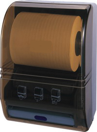 Plastic auto cut paper towel dispenser